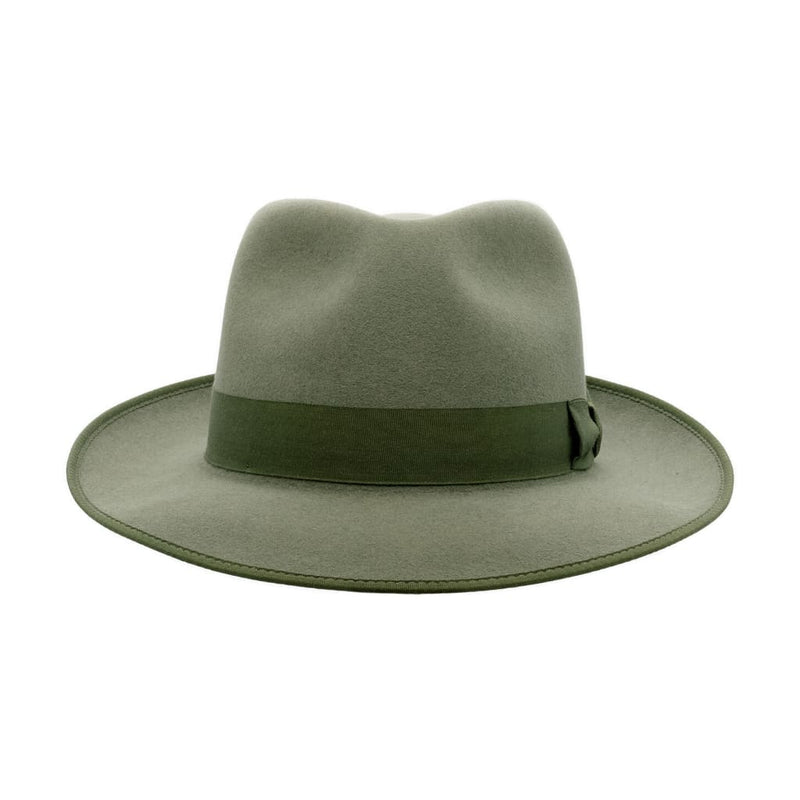 Front-on view of Akubra Stylemaster Bluegrass Green hat
