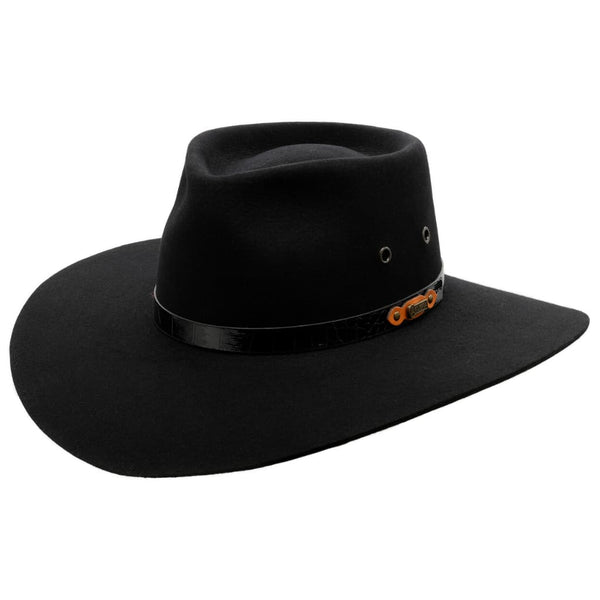 Angle view of Akubra Black Territory hat