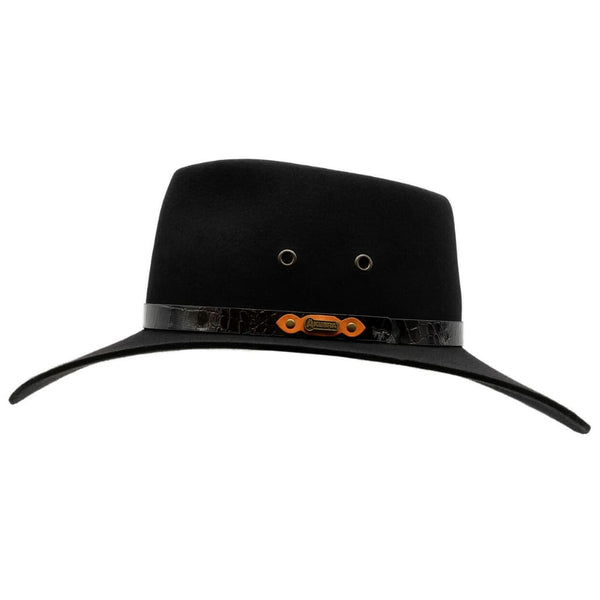 Side view of Akubra Black Territory hat
