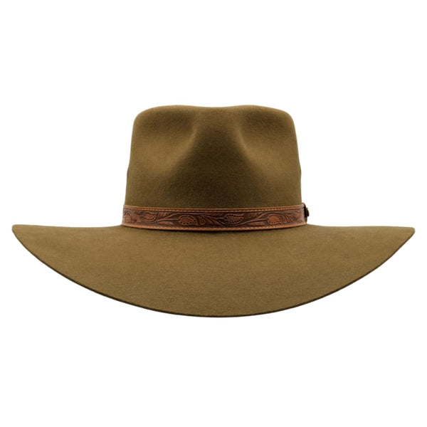 Front view of Akubra Territory hat in khaki colour