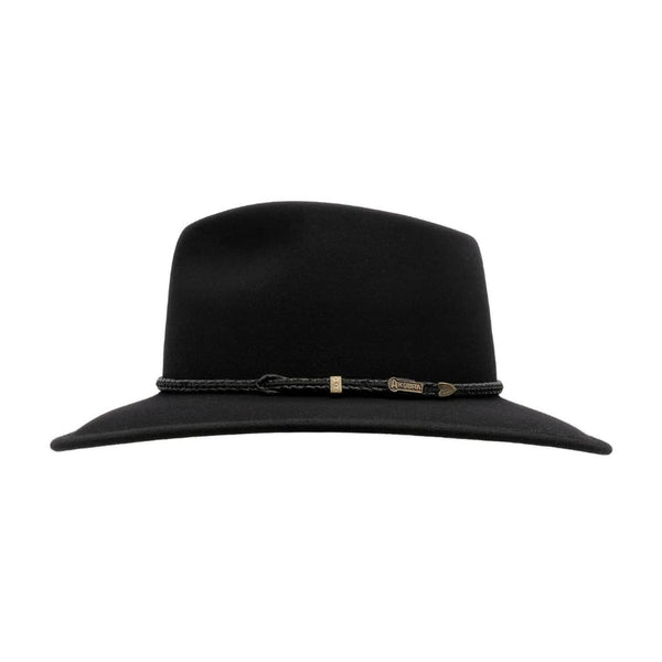 Side view of Black Akubra Traveller hat