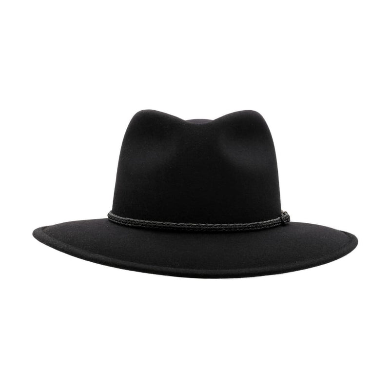 Front-on view of Black Akubra Traveller hat