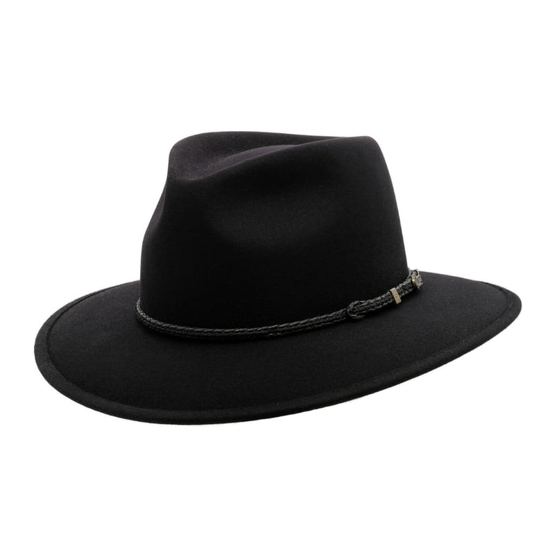 Angle view of Black Akubra Traveller hat