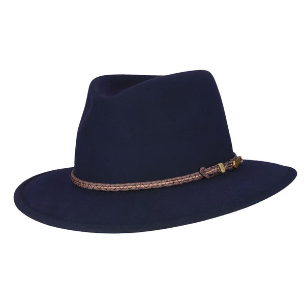 Angle view of Akubra Traveller hat in Federation Navy colour.
