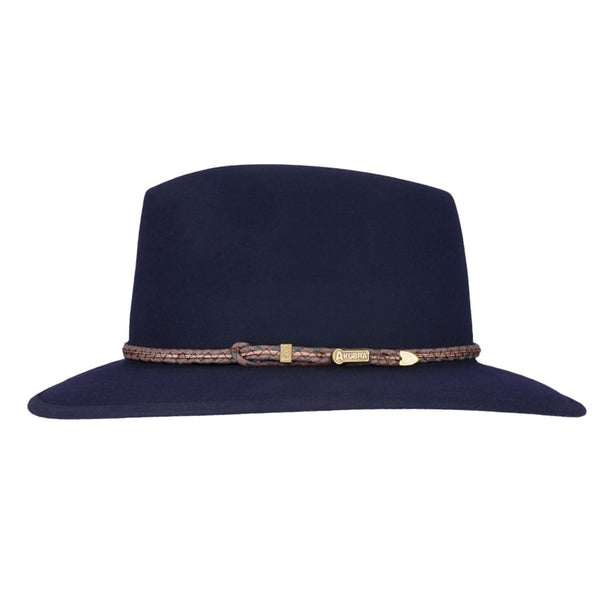 Side view of Akubra Traveller hat in Federation Navy colour, showing hat band detail.