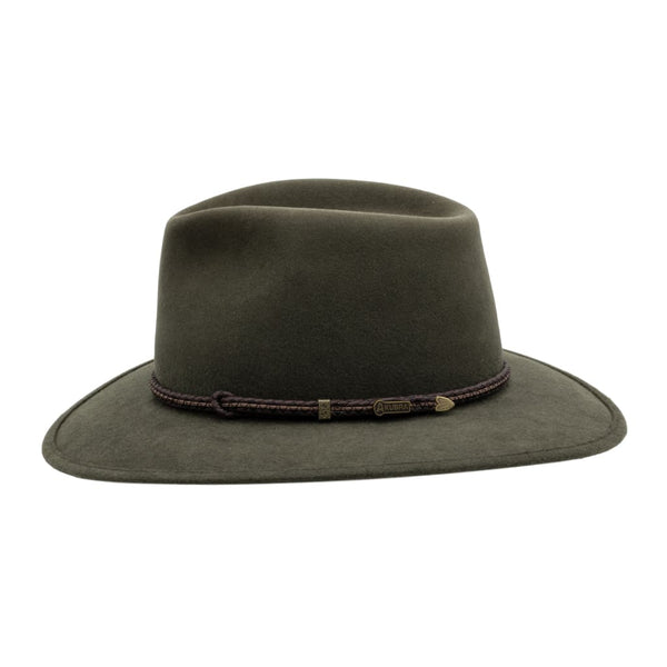 Side view of Akubra Traveller hat in Fern colour