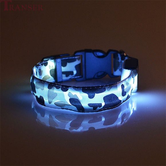 Transer Pet Dog Supplies Anti-Lost Camouflage Led Light Dog Collar For Small Large Medium Dogs 80124 - Bonnies Bargain Boutique