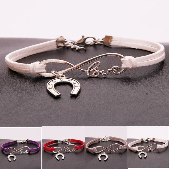 Infinity Love Horse Shoes Charm Braided Bracelet - Bonnies Bargain Boutique