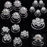 LNRRABC Fashion 12Pcs Women Simulated Pearl Crystal Scrunchie Twist Hair pins Ornament Wedding Party Hairwear Hair Accessories - Bonnies Bargain Boutique
