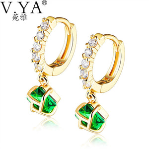 V.YA Women Earrings Luxury Cubic Zirconia 1 Pair Earrings Small Paved Brilliant AAA Austrian CZ - Bonnies Bargain Boutique