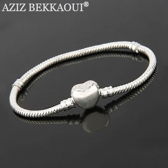 AZIZ BEKKAOUI Snake Chain Bracelets  Diy Style Screw Bracelets Heart Clasp  Fits Diy Beads Charms 16-21CM - Bonnies Bargain Boutique