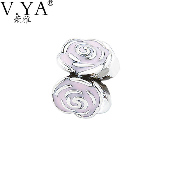 VYA Open Rose Flower Shape Bead High Quality Pink Paint. Big Hole Beads fit for Pandora - Bonnies Bargain Boutique