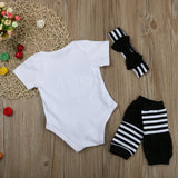 Infant Baby Girls Clothes Letter Printed Short Sleeve Romper + Legging Warmer + Headwear 3PCS Children Clothing Outfit - Bonnies Bargain Boutique