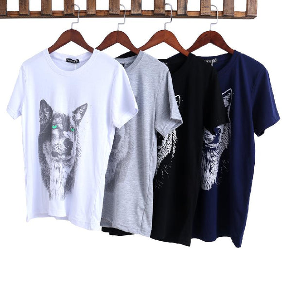Mens Wolf Design Loose Cotton Shirt - Bonnies Bargain Boutique