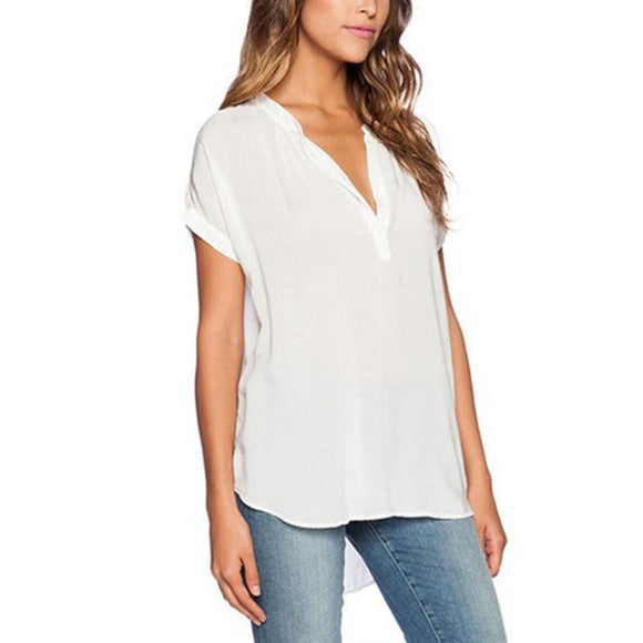 Fashion Summer Women's Shirt  Chiffon  Casual Solid Fashion Blouse.   small - Plus Sizes - Bonnies Bargain Boutique