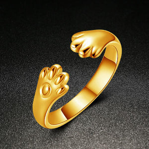 Cute Women Cat Paw Open Ring Silver Plated Finger Ring  Gold - Bonnies Bargain Boutique