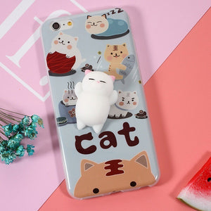 3D Cartoon Soft Silicone Squishy Squeeze Cat  Cover Case for iPhone 7 6 6s Plus Phone - Bonnies Bargain Boutique