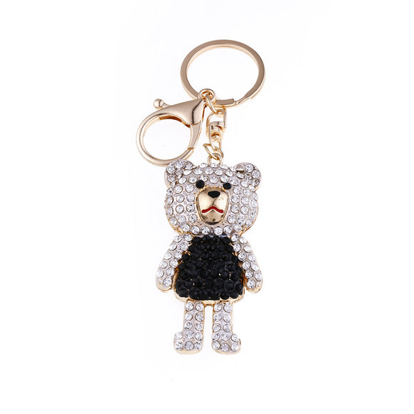 Rhinestones Alloy bear Key Chain Ring  Metal Adjustable - Bonnies Bargain Boutique