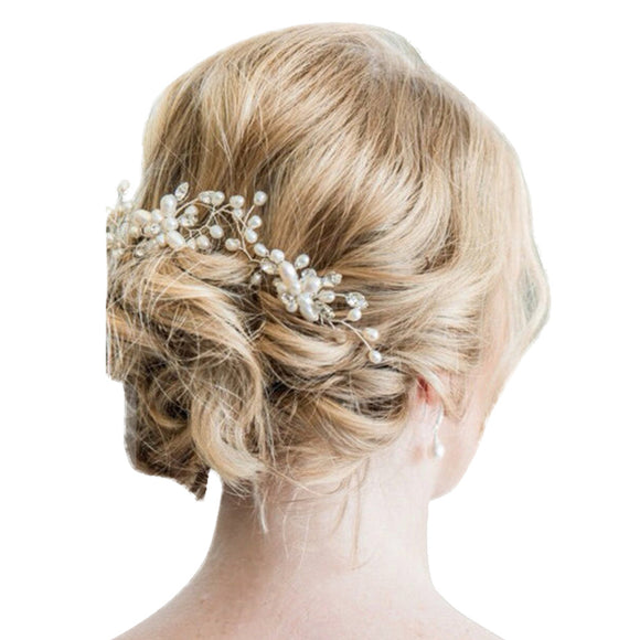 Fashion Wedding Bridal Pearl Flower Leaves Crystal Hair Pins Clips - Bonnies Bargain Boutique