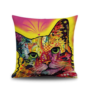 Colorful Cat Print Pink/yellow Dyeing  Home Decor Pillow Case/ Cushion Cover - Bonnies Bargain Boutique