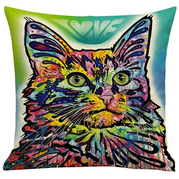 Colorful Cat Print green and aqua background Dye Home Decor Pillow Case/ Cushion Cover - Bonnies Bargain Boutique