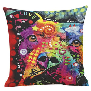 Colorful dog Print love ear Home Decor Pillow Case/ Cushion Cover - Bonnies Bargain Boutique