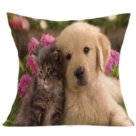 Vintage Cute Dog and cat Pillow Case/ Throw Cushion Cover Home Decor - Bonnies Bargain Boutique