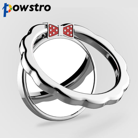 Powstro 360 Degree Metal Finger Ring Mobile Phone Smartphone Stand/ Holder. decorative bow - Bonnies Bargain Boutique