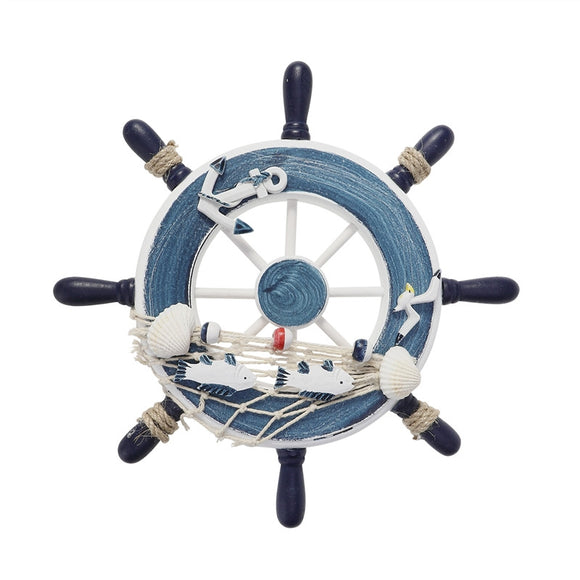 WINOMO Wooden 23cm  Boat Ship Steering Wheel with Fishing Net Home Wall Decoration - Bonnies Bargain Boutique