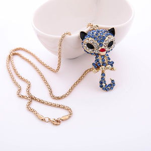 Fashion Women's Charming Crystal Rhinestone Cat Pendant Sweater Necklace - Bonnies Bargain Boutique