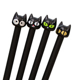 4pcs Black Cat  Gel Ink Rollerball Pens with 0.5mm extra fine point black ink - Bonnies Bargain Boutique