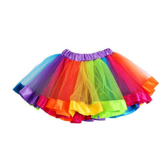 Girls Kids Rainbow Pettiskirt ,Bowknot Skirt Tutu Dress, Dancewear - Bonnies Bargain Boutique