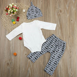 Cute 3PCS Set  Baby Boy Romper Tops +Long Pants Hat Outfits Clothes 0-18M use sizing chart - Bonnies Bargain Boutique