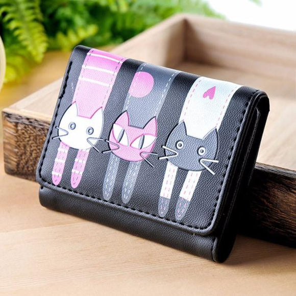 Women Cat Pattern Coin Purse Short Wallet Card Holders - Bonnies Bargain Boutique