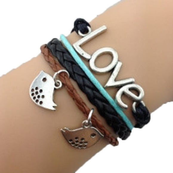 Birdy Love Black Blue Bracelet - Bonnies Bargain Boutique