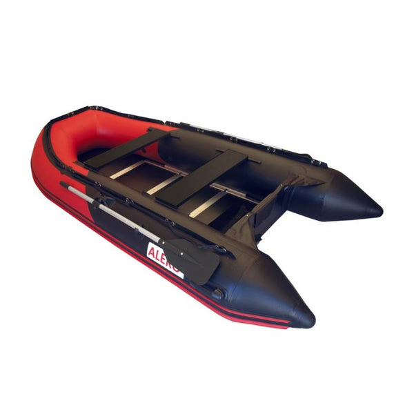 ALEKO INFLATABLE BOAT WITH WOOD FLOOR RED AND BLACK 10.5FT