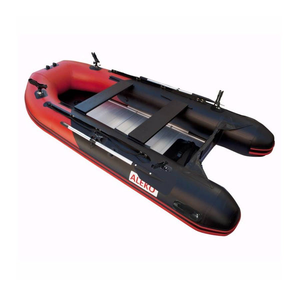 ALEKO PRO FISHING INFLATABLE BOAT ALUMINUM FLOOR 12.5 RED AND BLACK