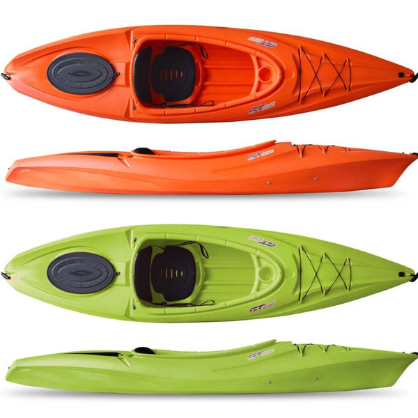 GT SIT INSIDE KAYAK 10 FOOT RECREATIONAL LIME AND ORANGE SEASTREAM KAYAKS