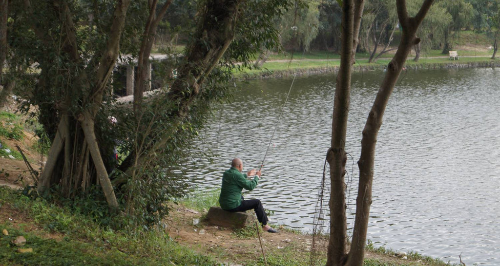 PERSON FISHING FROM A BANK