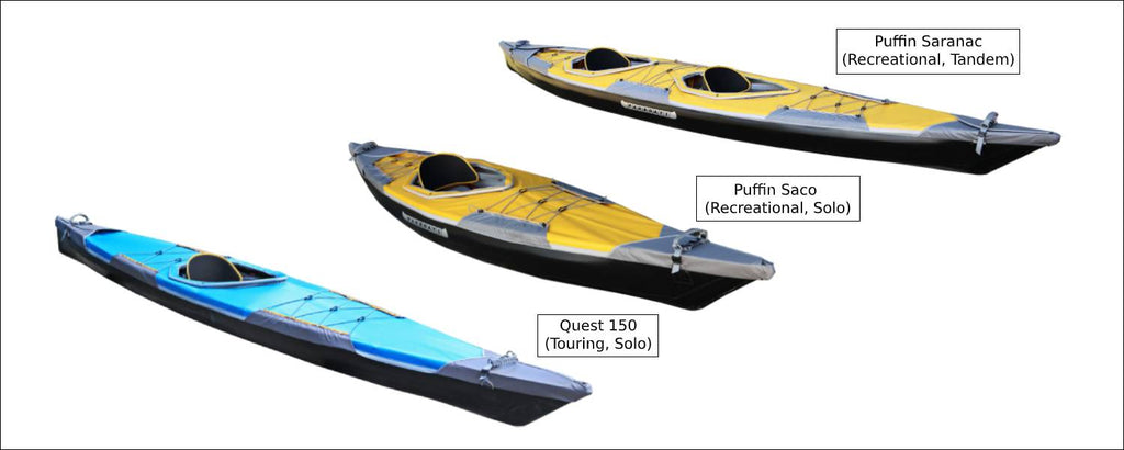 PUFFIN SACO SARANAC QUEST 150 WITH DECKS- FOLDING KAYAKS BY PAKBOATS