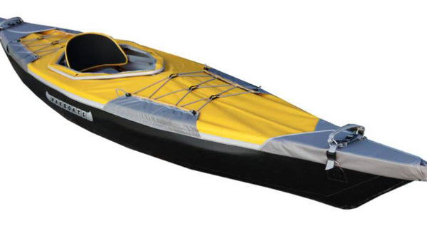 PUFFIN SACO PAKBOATS FOLDABLE FOLDING KAYAK 12 FOOT YELLOW WITH DECK