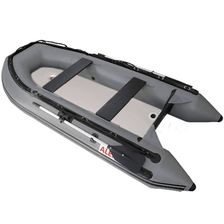 Aleko Inflatable Boat With Air Deck Floor- Gray - Reel Fishermen