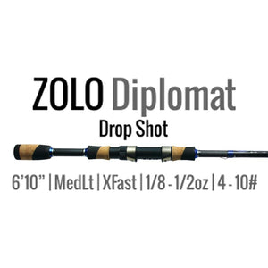 "ALX Rods ZOLO Diplomat Drop Shot Rod 6'10"" Medium Light Extra Fast - Reel Fishermen"