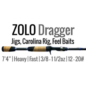 "ALX Rods ZOLO Dragger Casting Bass Rod 7'4"" Heavy Fast Carbon Fiber - Reel Fishermen"