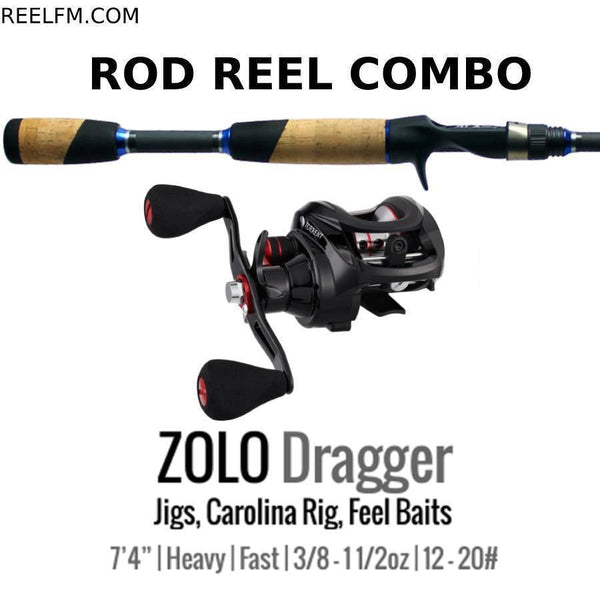 ALX Zolo Dragger Casting ROD REEL COMBO Set Up Jigs Carolina Rigs Feel Bait