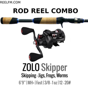 ALX Zolo Skipper Casting ROD REEL COMBO Setup Skipping Jigs Frogs Worms - Reel Fishermen