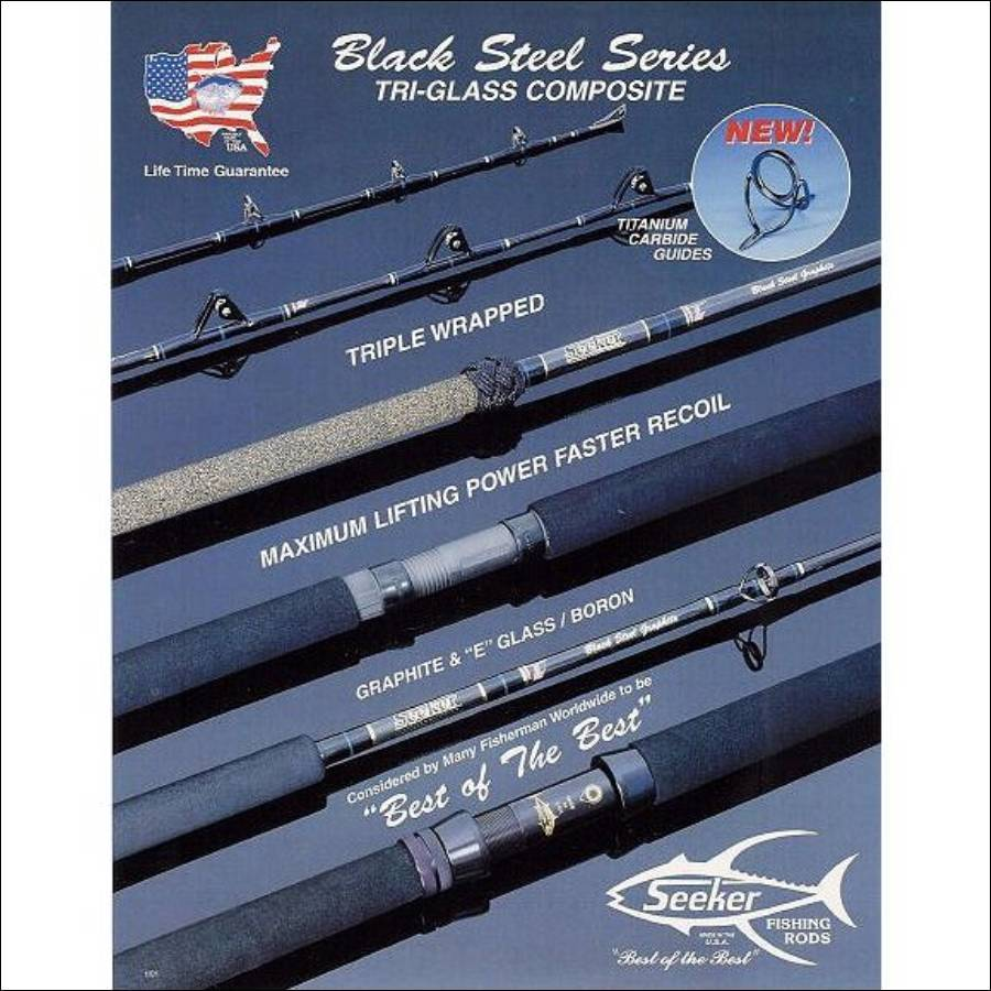 Black Steel Jig and Bait Rods - Seeker