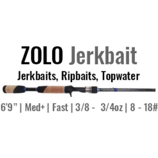 ZOLO Jerkbait Casting Rod by ALX (Jerkbaits, Ripbaits, Topwater) 6'9