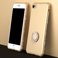 Husa Feelymos pentru iPhone, din silicon, cu strasuri, model cu suport, anti-cadere, all-inclusive