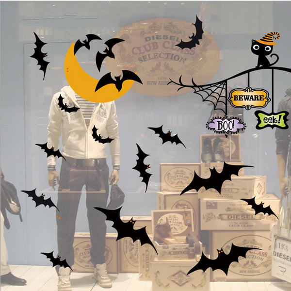 Halloween Bat Moon Black Cat Sticker Static Removable Glass Wall Sticker